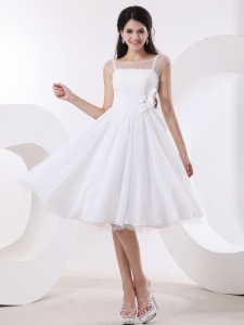 Bateau Knee-length White Short Wedding Dress Hand Made Flowers
