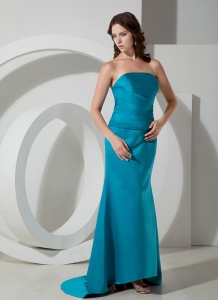Teal Column / Sheath Brush/Sweep Train Satin Prom Dress Ruched