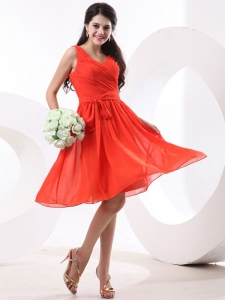 Orange Red V-neck Ruch Knee-length Bridesmaid Dress Belt Chiffon