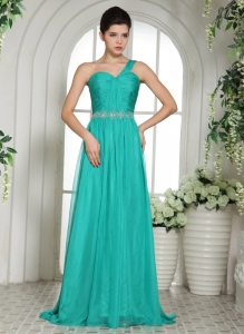 Turquoise One Shoulder Ruched Chiffon Prom/Celebrity Dress Beading