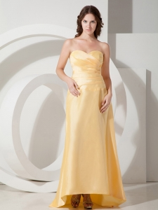 Gold Empire Sweetheart Brush Taffeta Pleats Prom Dress for Spring