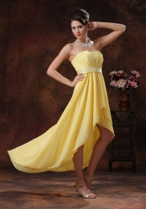 New Style Bright Yellow High-low Prom Dress with Beaded Belt