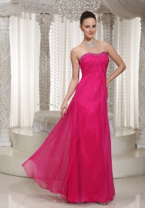 Vintage Inspired Hot Pink Prom Dress Ruched Chiffon Beading