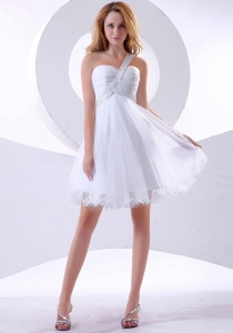 Beaded One Shoulder Organza Knee-length Prom Dress Ruch