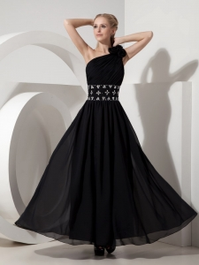 Prom Dress Black One Shoulde Column Ankle-length Beading