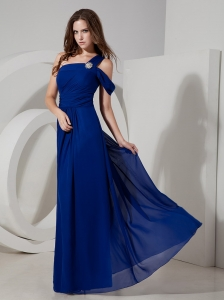Royal Blue Empire One Shoulder Chiffon Prom Dress Beaded