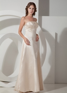 Champagne A-line Strapless Floor-length Taffeta Prom Dress