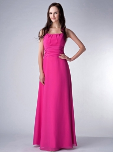 Newest Halter Top Hot Pink Empire Chiffon Ruch Prom Dress