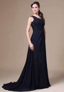 Navy Blue One Shoulder Bush Train Mother Of The Bride Dress