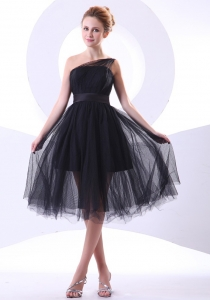 Tulle Black One Shoulder A-line Knee-length 2013 Prom Dress