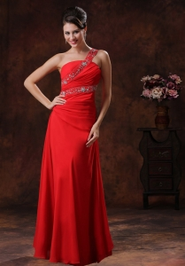 Beaded One Shoulder Red Chiffon Prom Dress Outfits Ruching