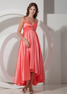 Asymmetrical Watermelon Empire Spaghetti Straps Satin Prom Dress