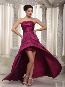 Asymmetrical Red A-line Top Sequined High-low Taffeta Prom Dress