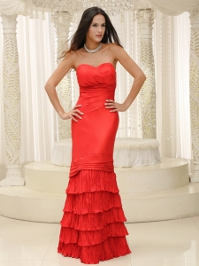Red Sweetheart Ruched Floor-length Prom Dress Ruffled Layers