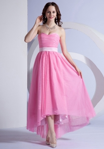 Rose Pink Chiffon High-low Prom Dress Sweetheart Neckline Belt