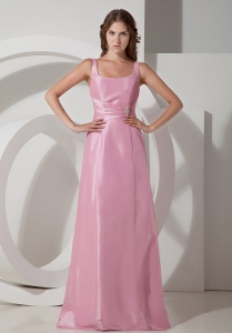 Square Neck Rose Pink Empire Taffeta Prom Dress Beading Ruch