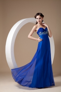 Royal Blue Sweetheart Brush Train Chiffon Appliques Prom Dress