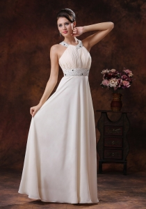 Scoop Off White Beaded Waist Custom Made Evening Dress