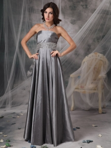 Sheath Silver Taffeta Prom Dress Beading Waistband Shape