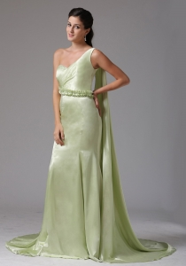 Yellow Green One Shoulder Watteau Train Prom Dress Appliques