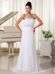 White Prom Gown Beaded Bust and Waist Brush Train Skirt