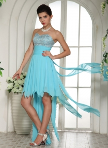 Custom Made Aqua Blue Beaded Sweetheart High-low Prom Dress