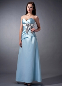 Sweetheart Baby Blue Ankle-length Satin Bridesmaid Dress Bow
