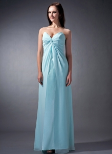 Cloumn Baby Blue Chiffon Ruched Bridesmaid Dress Sweetheart