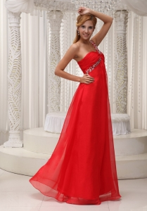 Beaded One Shoulder Red Prom / Evening Dress for Red Carpet