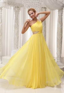 Beaded One Shoulder Yellow Prom/Evening Dress Ruching