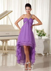 Beaded One Shoulder Graduation Dress Chiffon High-low Layers