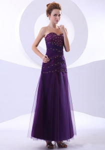Ankle-length Purple Tulle Taffeta Prom Dress Beading Bodice