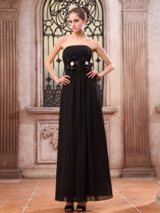 Black Prom Dress Ankle-length Chiffon With Hand Made Flower