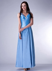 Blue Taffeta Prom Dress Empire V-neck Ankle-length Beading