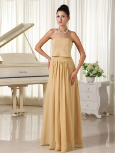 Champagne Empire Prom Dress Chiffon Zipper-up for Wholeale