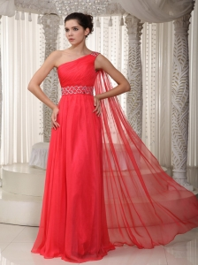 Coral Red Prom Dress One Shoulder Watteau Train Beading
