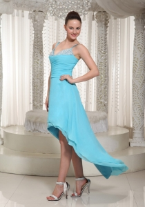 High-low Aqua Blue Chiffon Prom Dress Beaded Spaghetti Straps