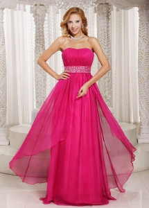 Hot Pink Empire Ruched Chiffon Party Style Prom Dress Beading