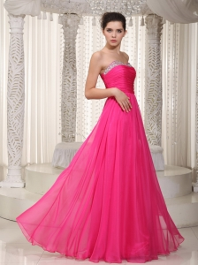 Sweetheart Hot Pink Empire Chiffon Beading Prom/Party Dress