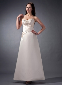 Unique Ivory A-line Ankle-length Satin Prom Dress Ruched Strapless