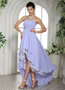 Customize Lilac Chiffon Beaded Waist High-low Prom Dress Outfits