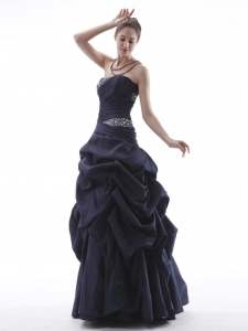Navy Blue Corset Back Beaded Taffeta Prom Dress Pick-ups