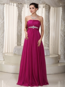 Most Popular Fuchsia Empire Chiffon Beading Prom/Party Dress