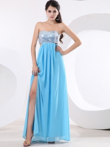 High Slit Chiffon Prom Dress Aqua blue With Sequin Bodice