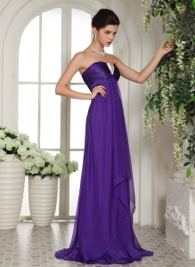 V-neck Eggplant Purple Ruching Prom/Celebrity Dress Chiffon