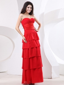 Red Sweetheart Ruffled Layers Prom Dress Ruched Bodice
