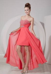 Sweetheart High-low Chiffon Beading Evening Dress Watermelon