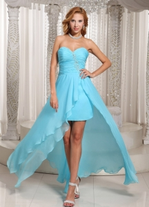 Aque Blue High-low Sweetheart Ruched Prom Dress Beading