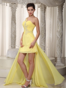 Princess One Shoulder High-low Beading Prom Dress Yellow