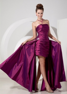 Fuchsia Chiffon Column Prom Dress High-low Appliques